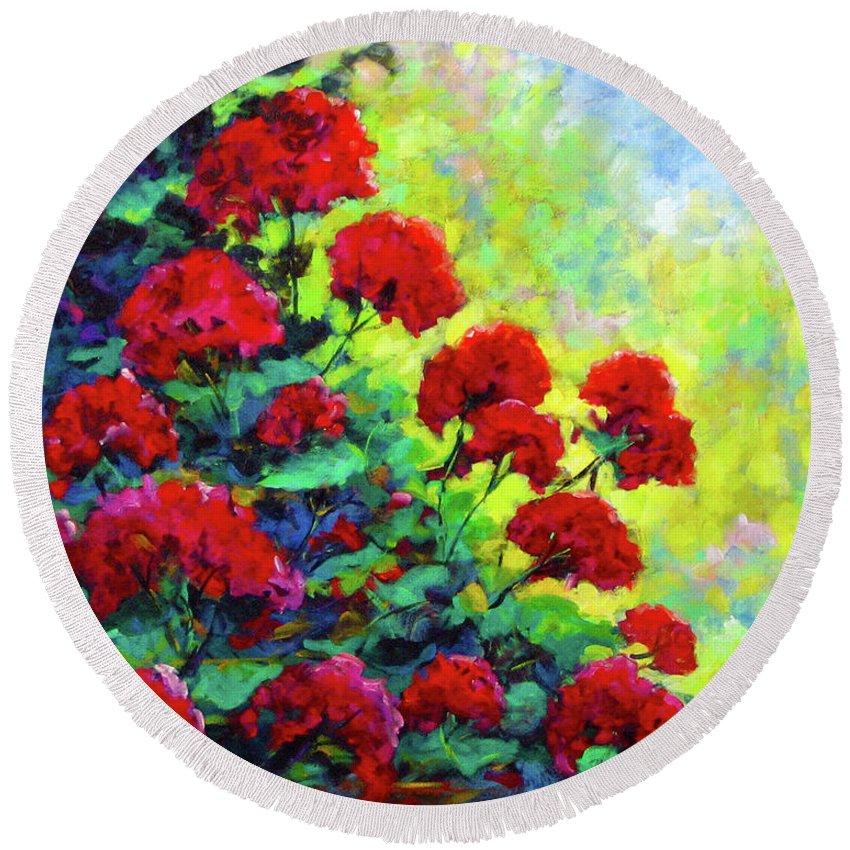 Art Original Round Beach Towel featuring the painting Cascade Of Geraniums by Richard T Pranke