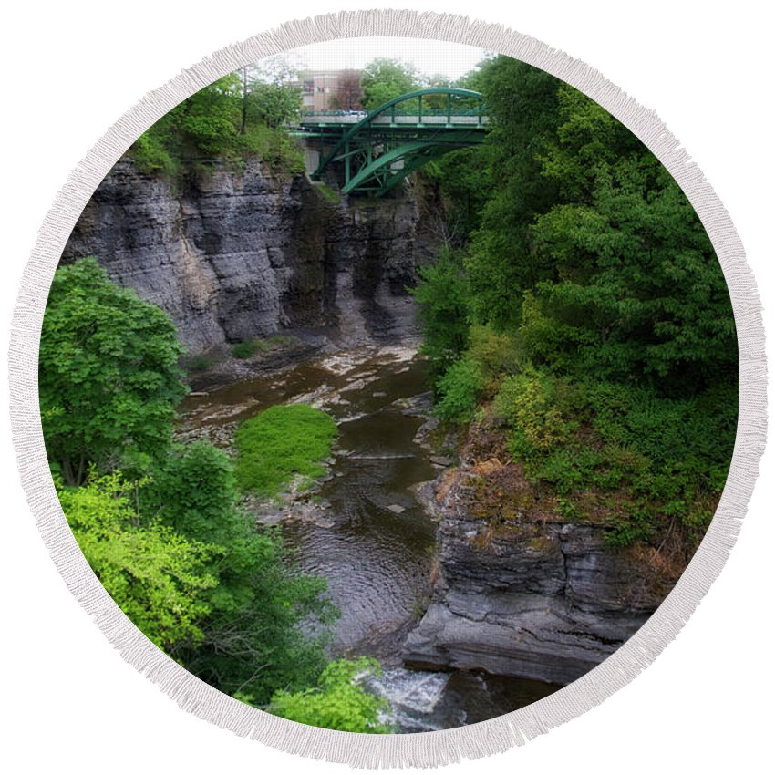 New York Round Beach Towel featuring the photograph Cascadilla Gorge Cornell University Ithaca New York 01 by Thomas Woolworth