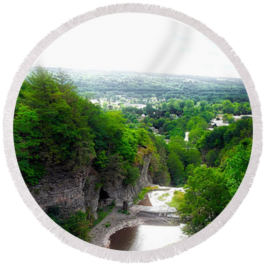 Cornell University Round Beach Towel featuring the photograph Cascadilla Gorge Cornell University Ithaca New York Panorama by Thomas Woolworth