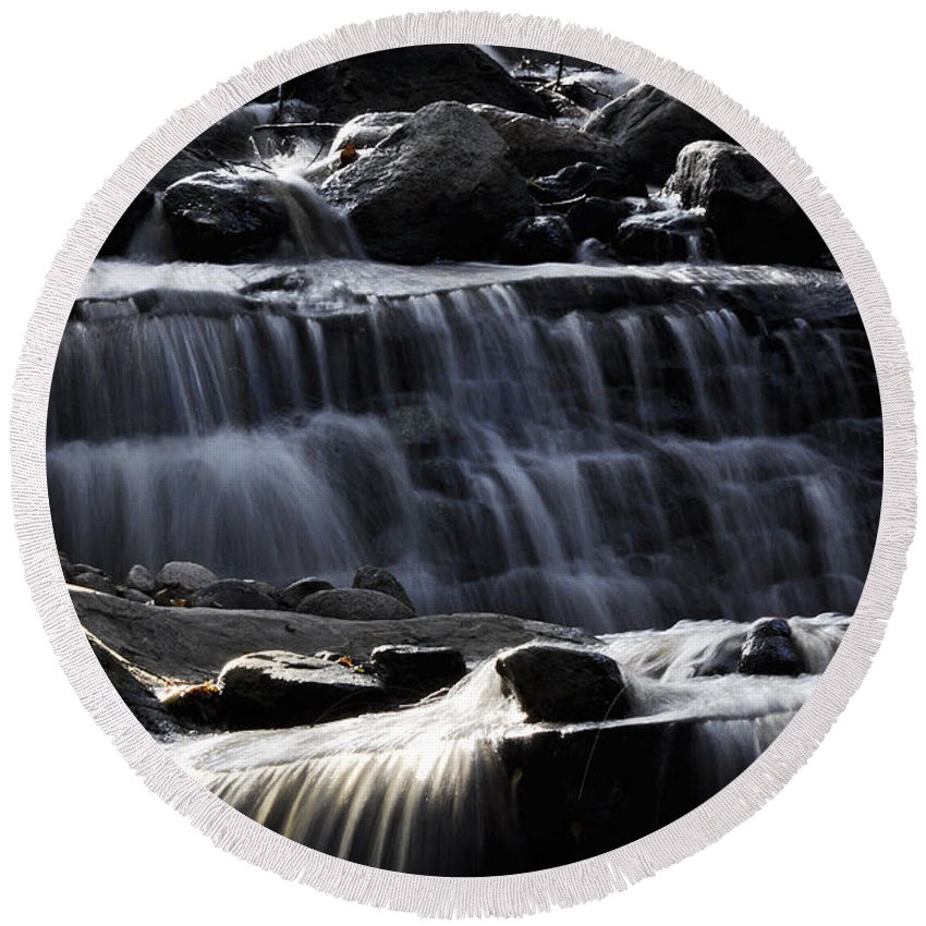 Clay Round Beach Towel featuring the photograph Cascading Falls by Clayton Bruster