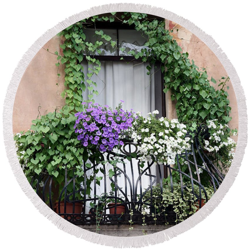 Windows And Doors Round Beach Towel featuring the photograph Cascading Floral Balcony by Donna Corless