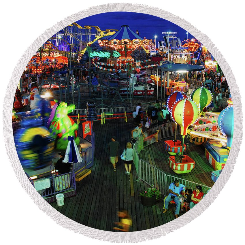 Seaside Round Beach Towel featuring the photograph Casino Pier At Seaside Heights by James Kirkikis