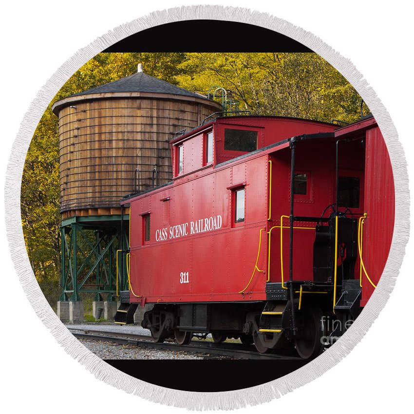 Antiquated Round Beach Towel featuring the photograph Cass Railroad Caboose by Jerry Fornarotto
