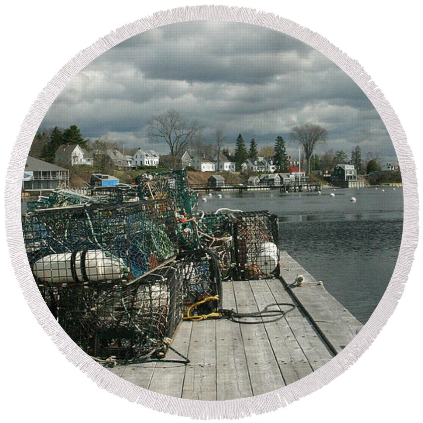 Maine Round Beach Towel featuring the photograph Castine by Laura Mace Rand