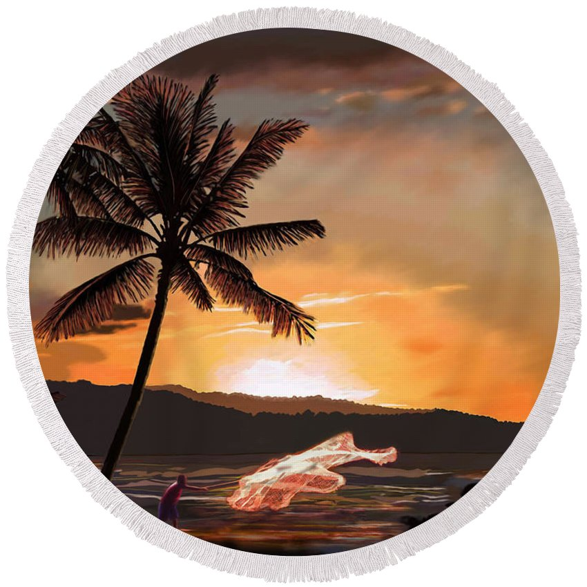 Catching Round Beach Towel featuring the painting Casting Net At Sunset by James Mingo