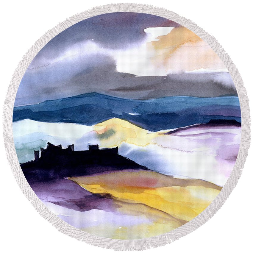Water Round Beach Towel featuring the painting Castle by Anil Nene