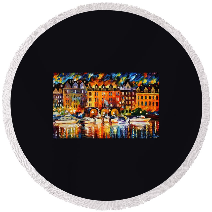 Afremov Round Beach Towel featuring the painting Castle By The River by Leonid Afremov