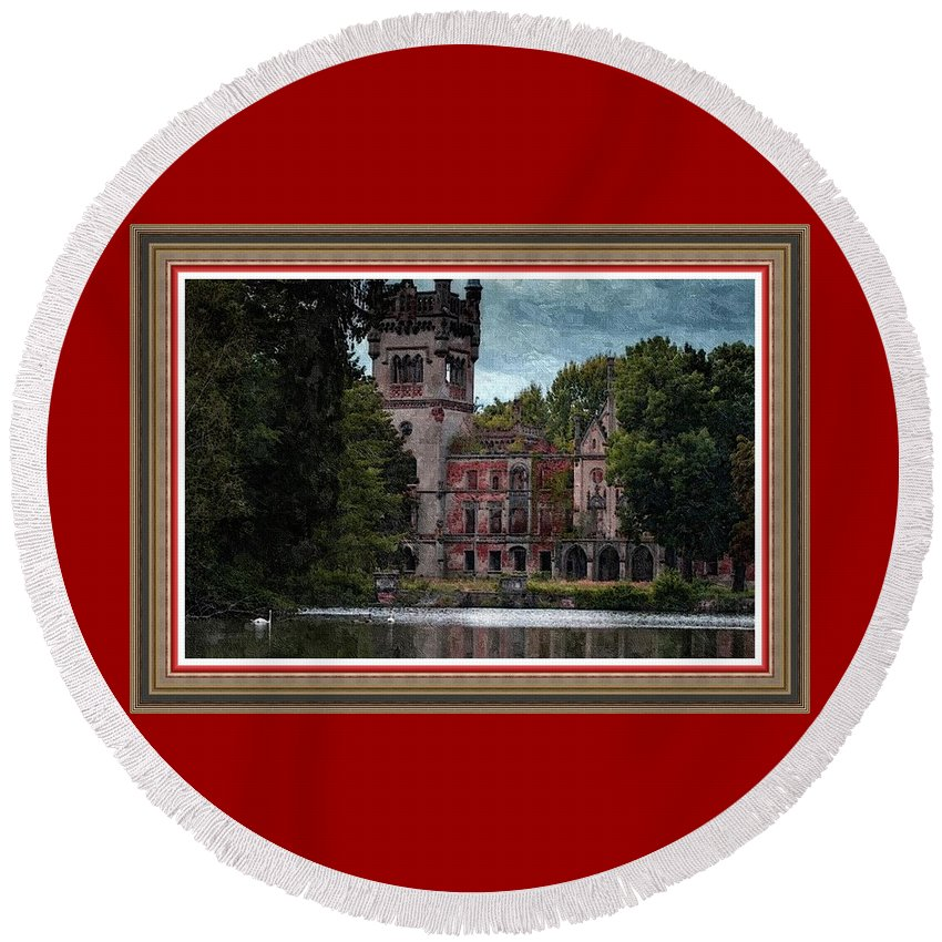 Rural Round Beach Towel featuring the painting Castle Kapadia. L B With Decorative Ornate Printed Frame. by Gert J Rheeders