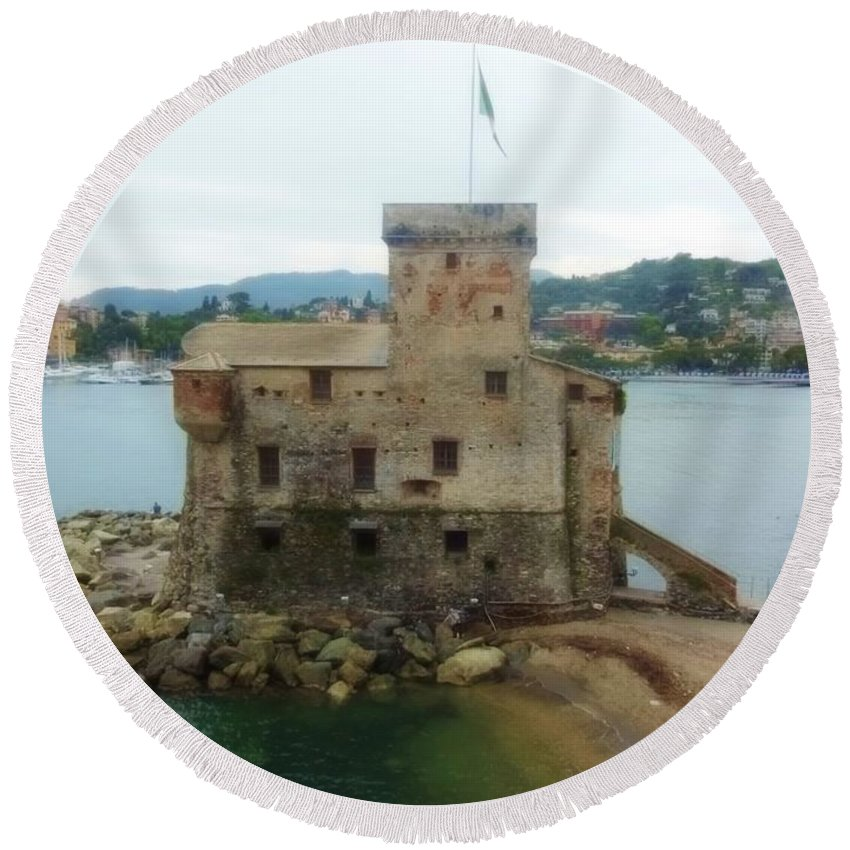 Castle Round Beach Towel featuring the photograph Castle Of Rapallo by Marilyn Dunlap