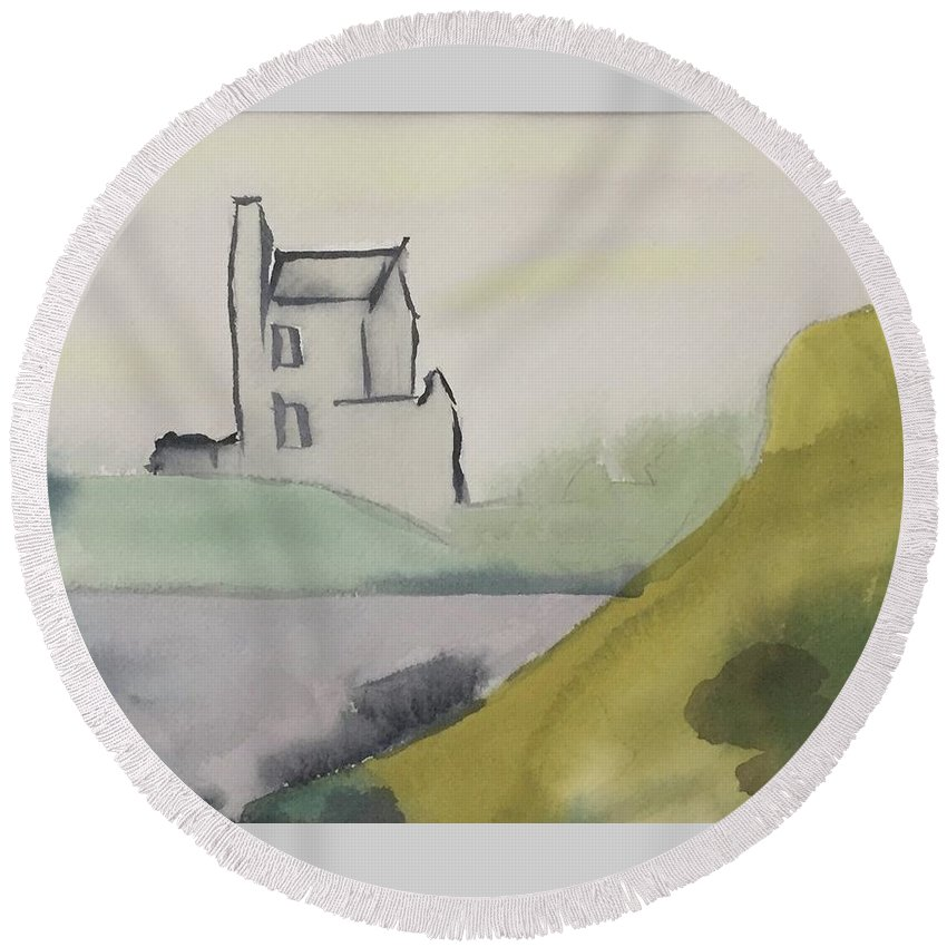 Castle Round Beach Towel featuring the painting Castle On The Hill by Alice Singer