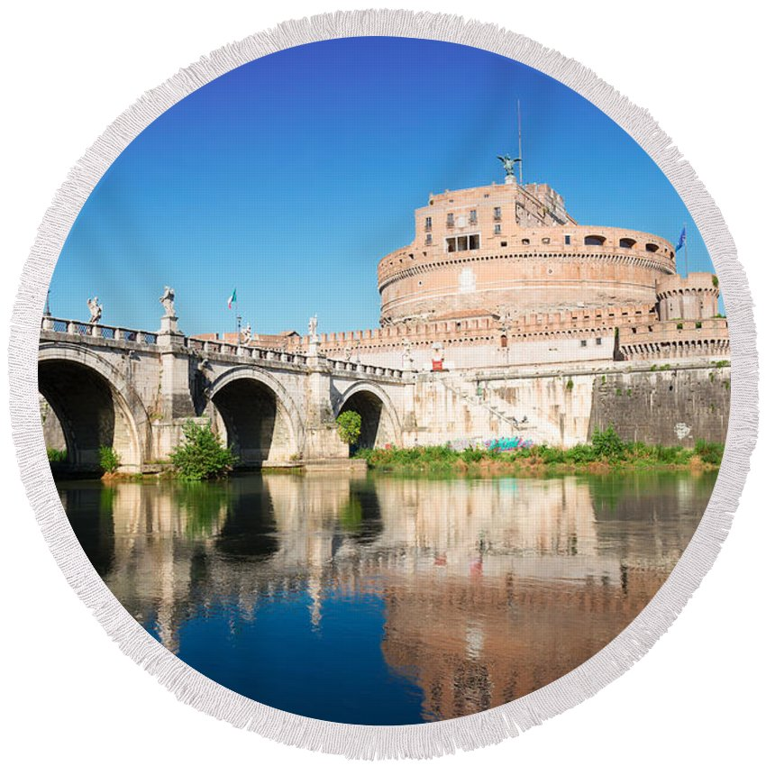 Rome Round Beach Towel featuring the photograph Castle St Angelo by Anastasy Yarmolovich