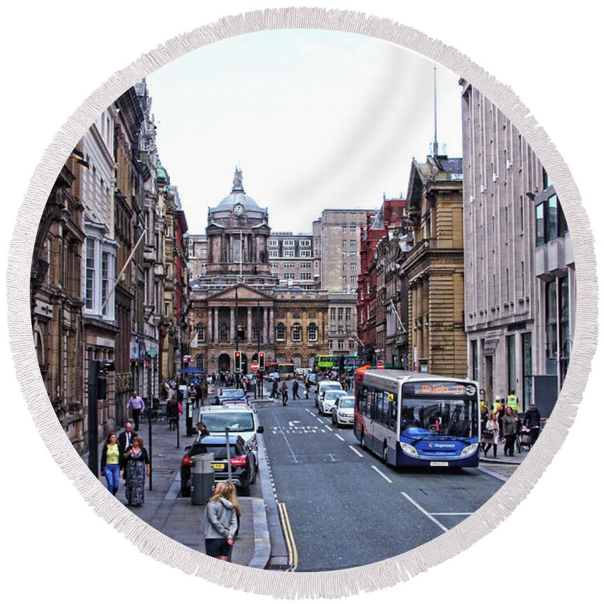 Liverpool Round Beach Towel featuring the photograph Castle Street - Liverpool by Doc Braham