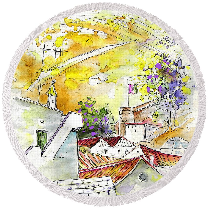 Water Colour Travel Sketch Castro Marim Portugal Algarve Miki Round Beach Towel featuring the painting Castro Marim Portugal 03 by Miki De Goodaboom