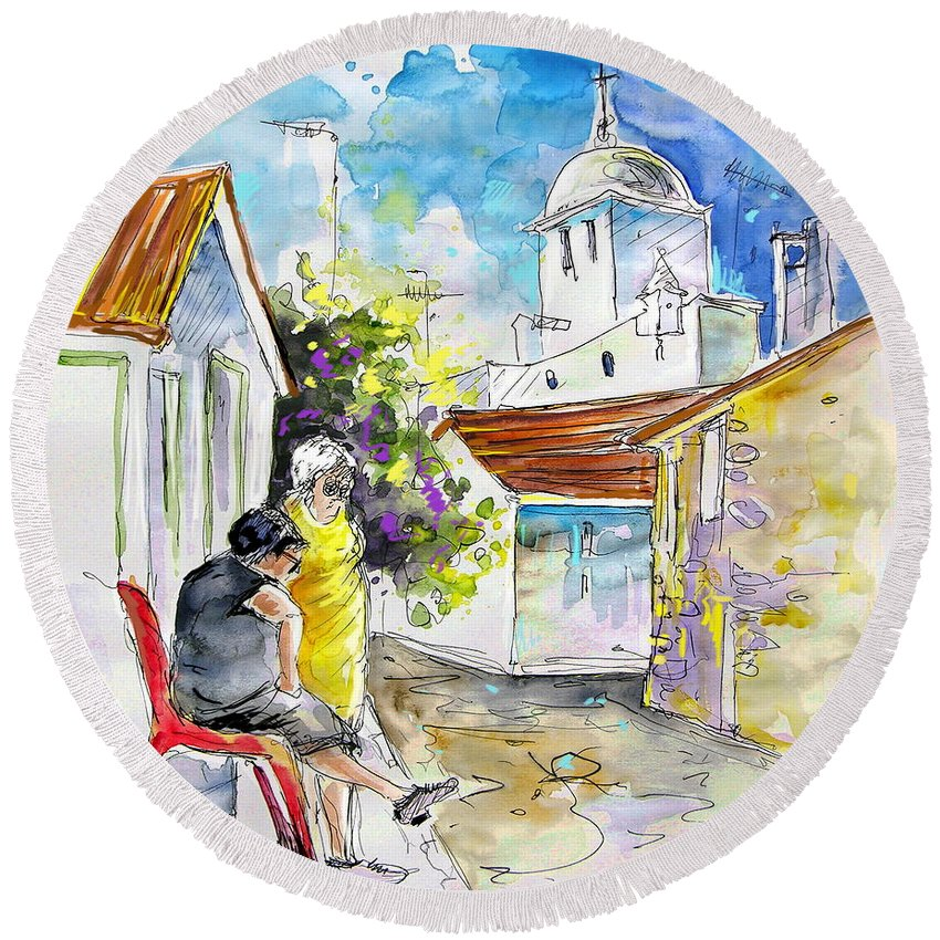 Water Colour Travel Sketch Castro Marim Portugal Algarve Miki Round Beach Towel featuring the painting Castro Marim Portugal 04 by Miki De Goodaboom