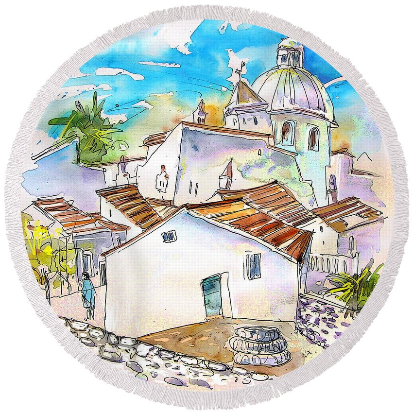 Water Colour Travel Sketch Castro Marim Portugal Algarve Miki Round Beach Towel featuring the painting Castro Marim Portugal 05 by Miki De Goodaboom