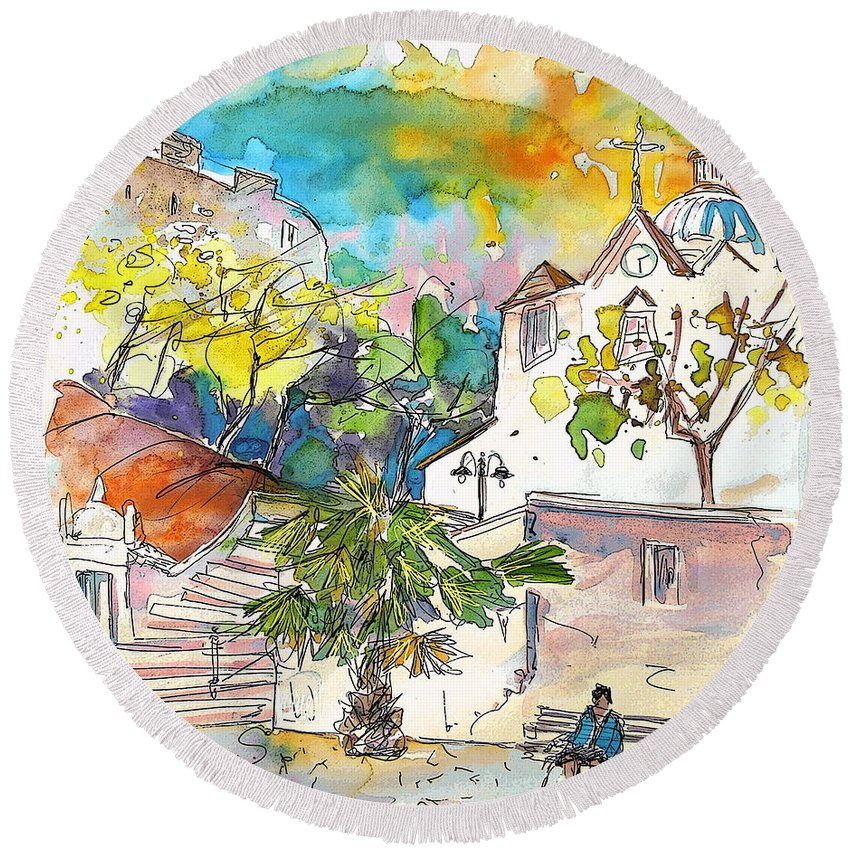 Castro Marim Portugal Algarve Painting Travel Sketch Round Beach Towel featuring the painting Castro Marim Portugal 13 by Miki De Goodaboom