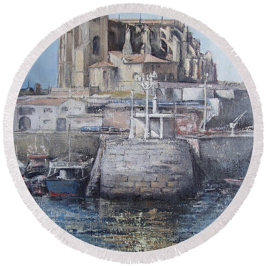 Castro Round Beach Towel featuring the painting Castro Urdiales by Tomas Castano