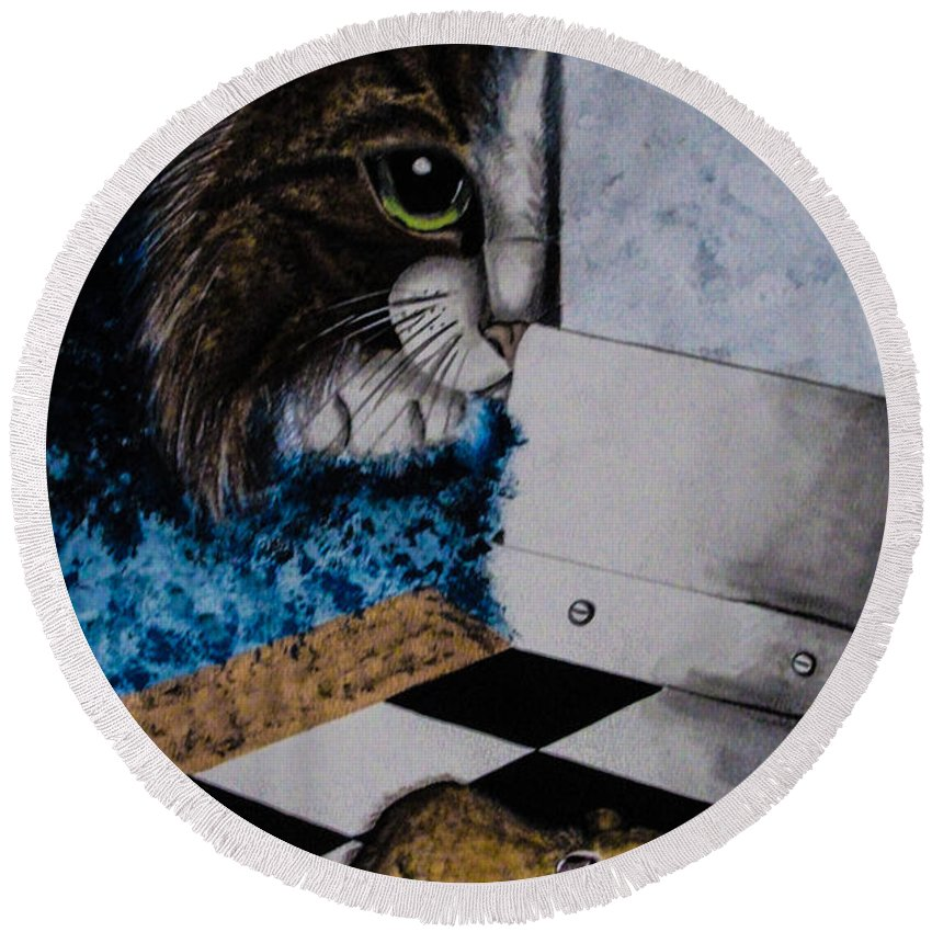 Cat. Mouse. Black And White. Animals. Fine Art. Unique Design. Checker Floor. Round Beach Towel featuring the painting Cat And Mouse by Dawn Siegler