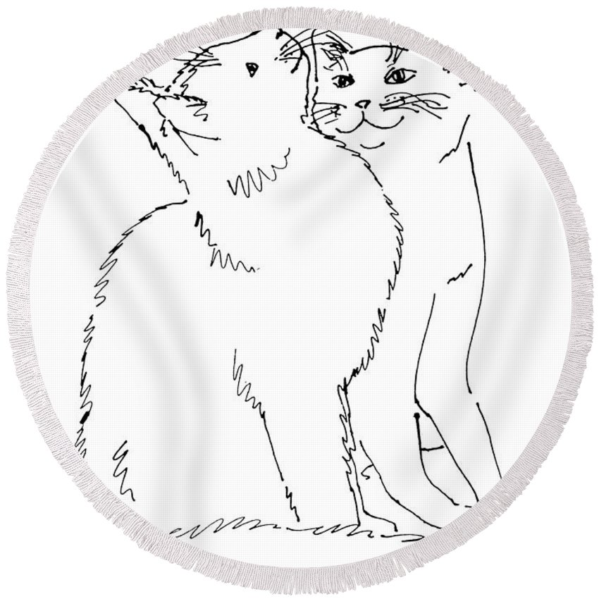 Cat Round Beach Towel featuring the drawing Cat-art-curious by Gordon Punt