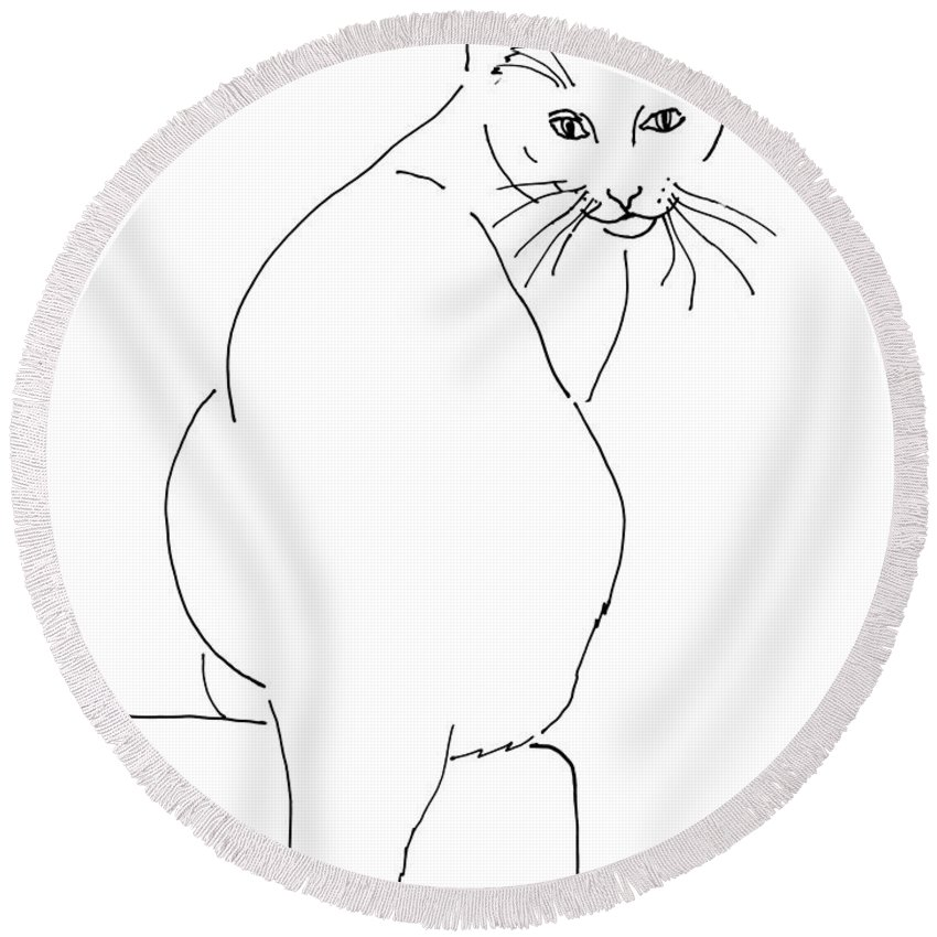 Cat Round Beach Towel featuring the drawing Cat-artwork-prints by Gordon Punt