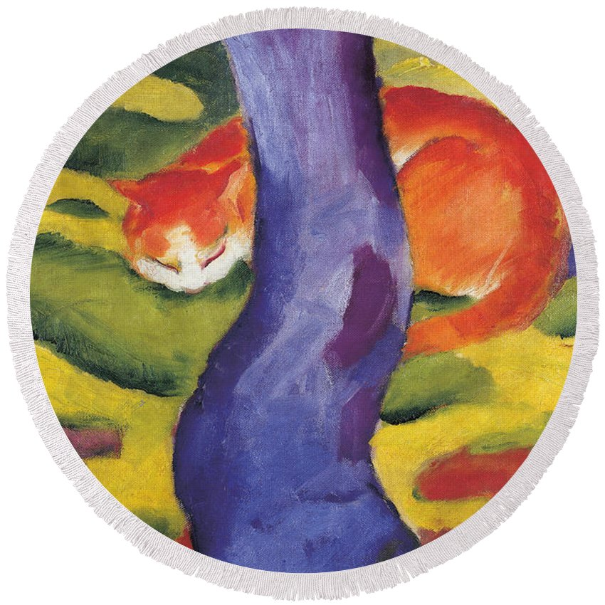 Cat Behind A Tree Round Beach Towel featuring the painting Cat Behind A Tree by Franz Marc