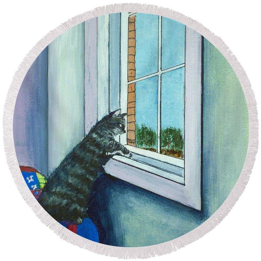 Malakhova Round Beach Towel featuring the painting Cat By The Window by Anastasiya Malakhova