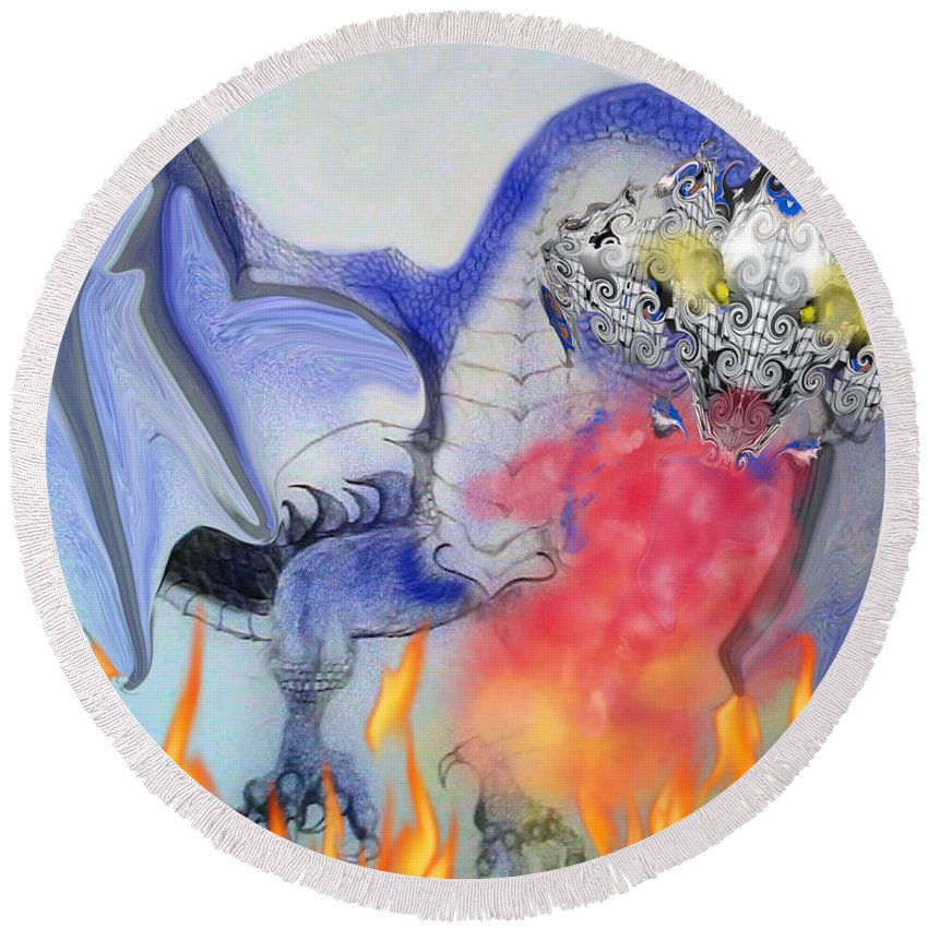 Round Beach Towel featuring the digital art Cat Dragon by Subbora Jackson