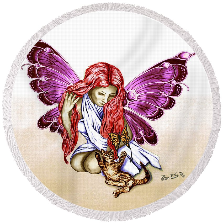 Cat Fairy Round Beach Towel featuring the drawing Cat Fairy In Purple by Peter Piatt