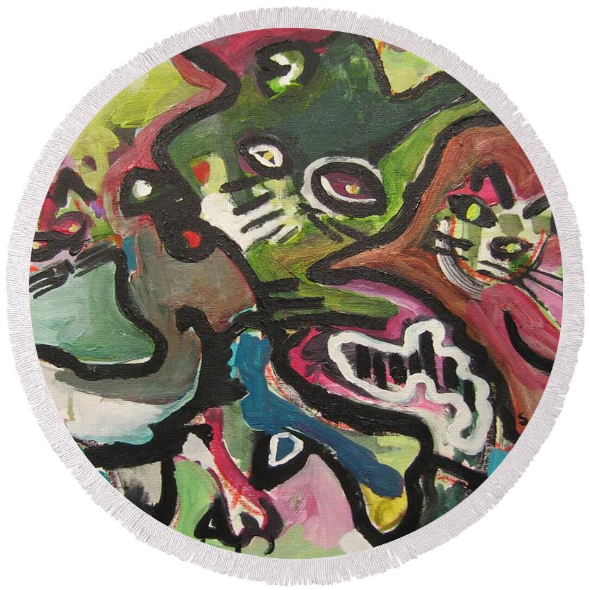Cat Painting Round Beach Towel featuring the painting Cat Fight by Seon-Jeong Kim