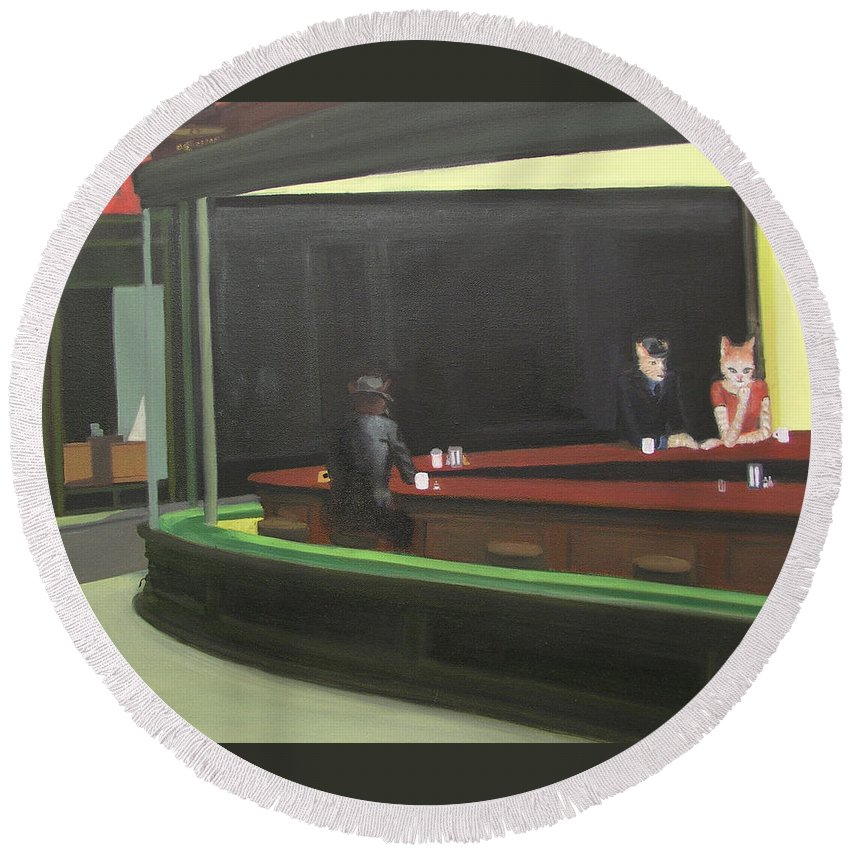 Nighthawks Round Beach Towel featuring the painting Cat Hawks At The Diner by Gail Eisenfeld