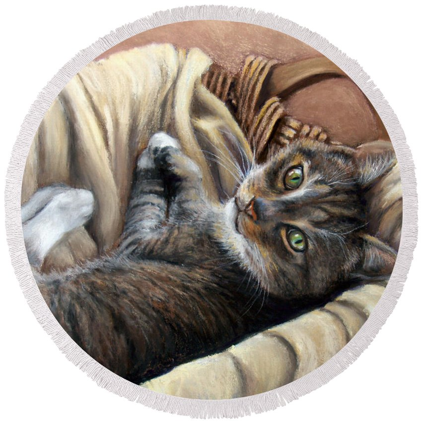 Animal Round Beach Towel featuring the pastel Cat In A Basket by Susan Jenkins