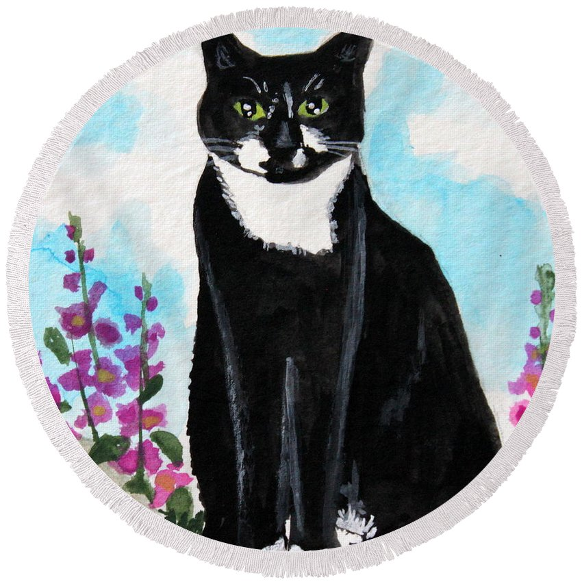 Cat Round Beach Towel featuring the painting Cat In The Garden by Elizabeth Robinette Tyndall