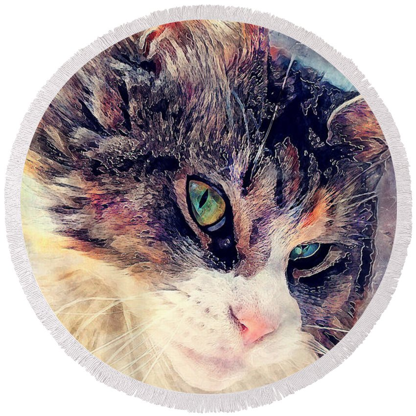 Cat Round Beach Towel featuring the painting Cat Jasper by Justyna JBJart