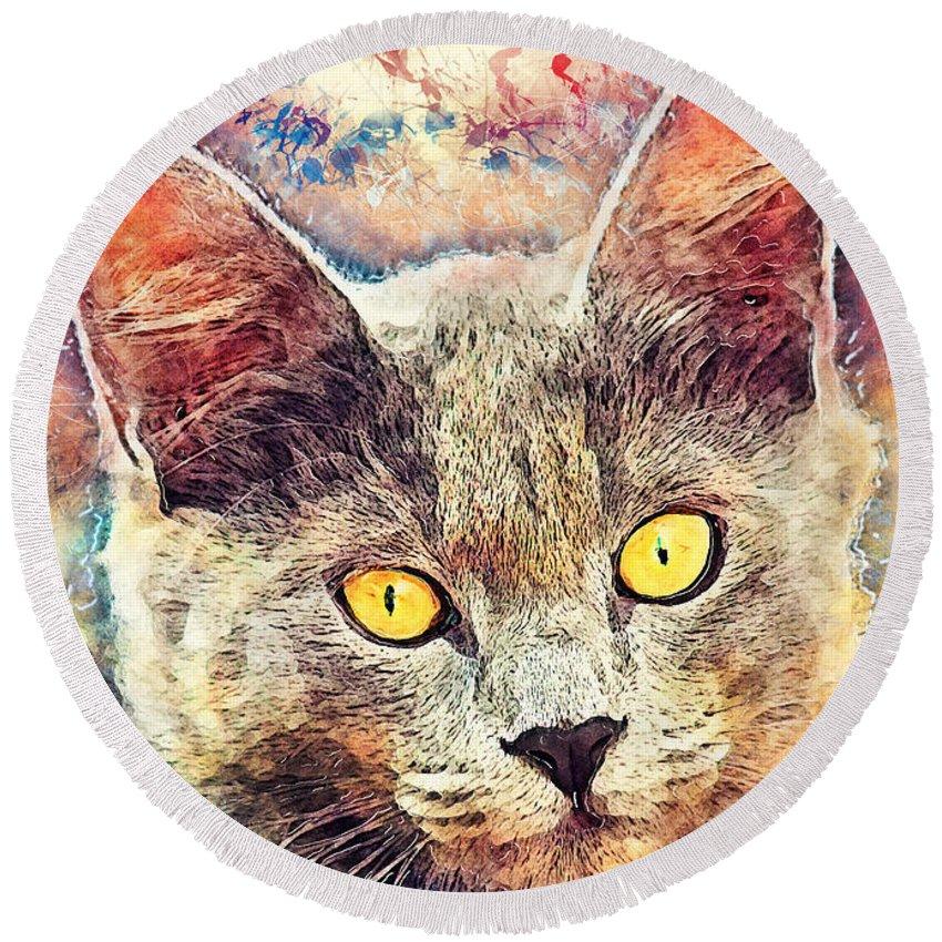 Cat Round Beach Towel featuring the painting Cat Kiara by Justyna JBJart