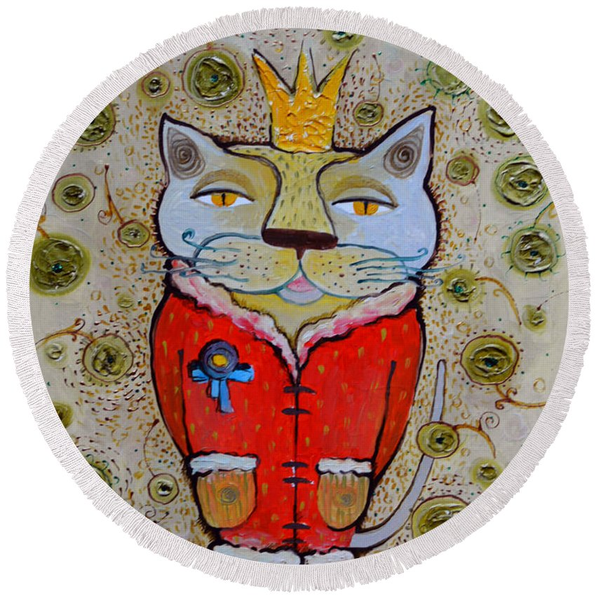 Cat Round Beach Towel featuring the painting Cat-king by Lidia Matviyenko