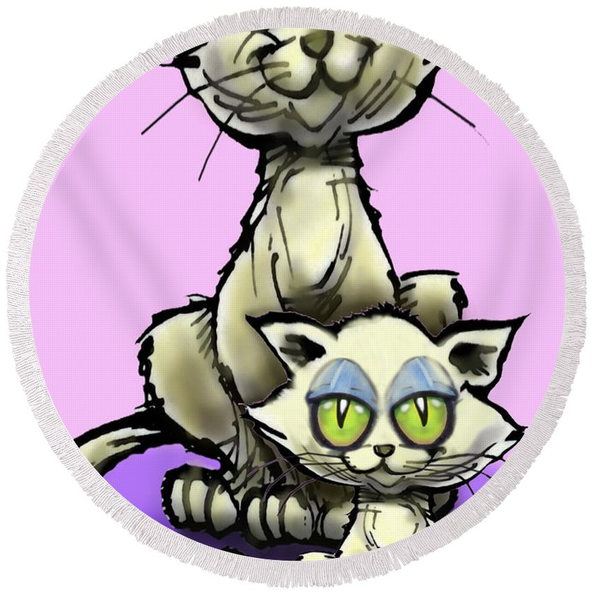 Cat Round Beach Towel featuring the digital art Cat N Kitten by Kevin Middleton