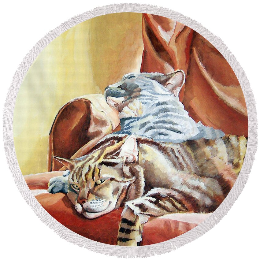Cats Round Beach Towel featuring the painting Cat Nap by Dominic White