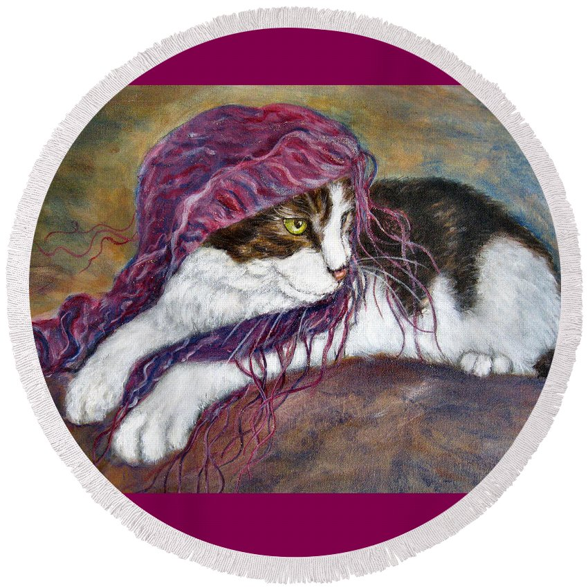 Tortoise Cat Round Beach Towel featuring the painting Cat Painting Charlie The Pirate by Frances Gillotti