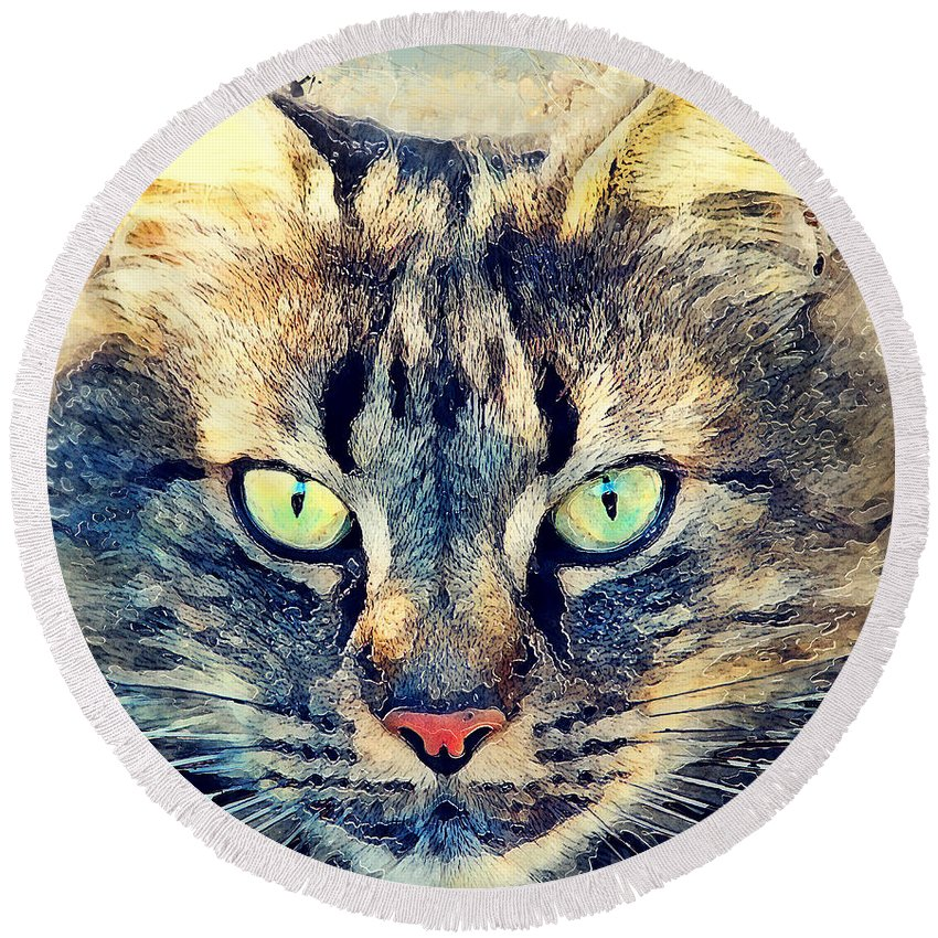 Cat Round Beach Towel featuring the painting Cat Simba by Justyna JBJart
