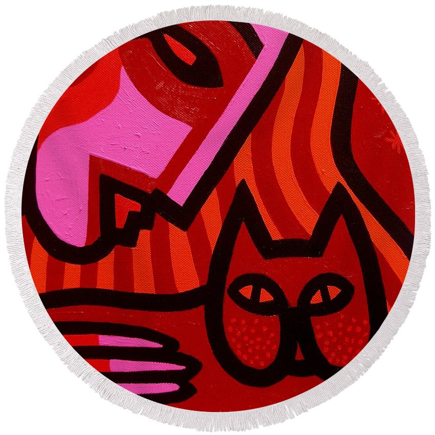 Acrylic Round Beach Towel featuring the painting Cat Woman by John Nolan