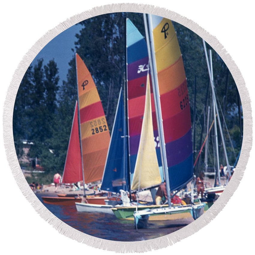 Photography Round Beach Towel featuring the photograph Catamarans At The Ready by Frederic A Reinecke