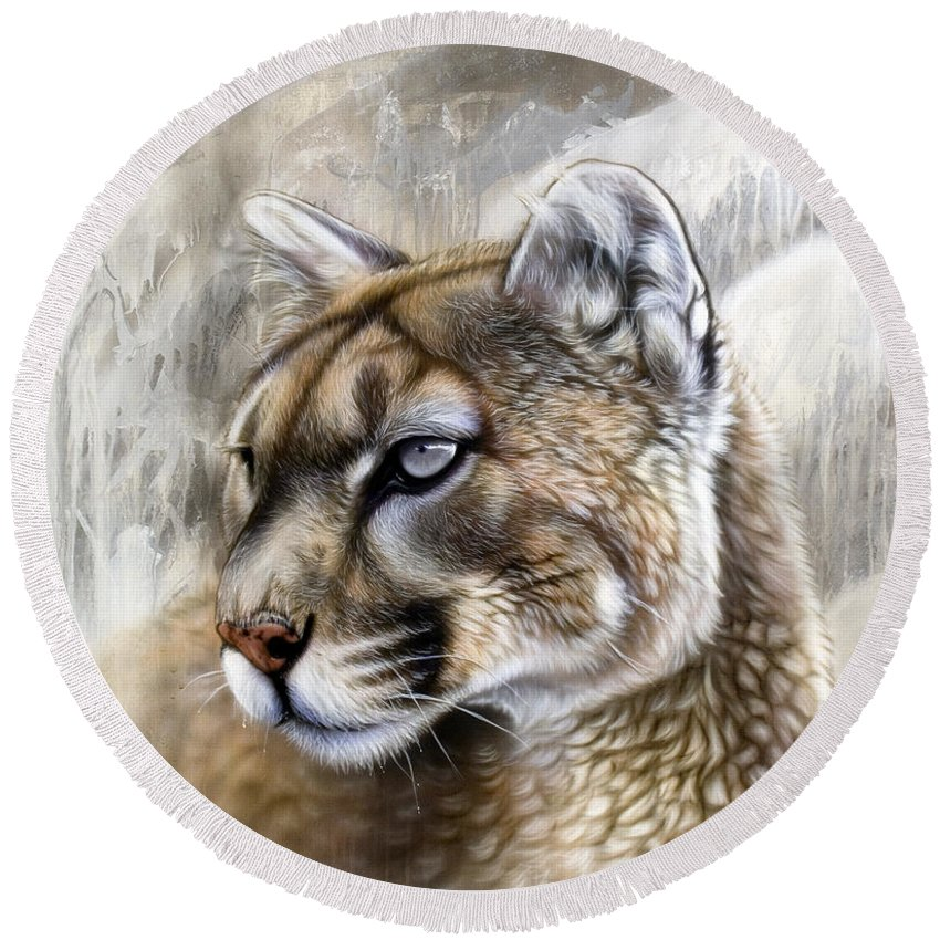 Acrylic Round Beach Towel featuring the painting Catamount by Sandi Baker