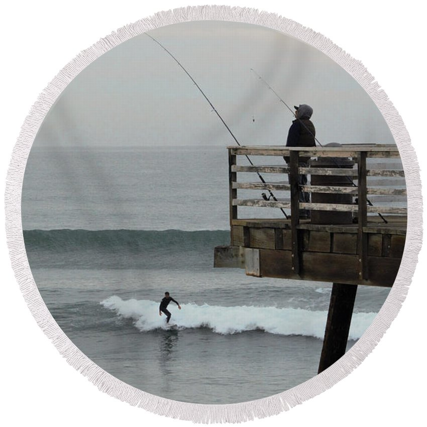 Photography Round Beach Towel featuring the photograph Catch Of The Day by Marnie Patchett