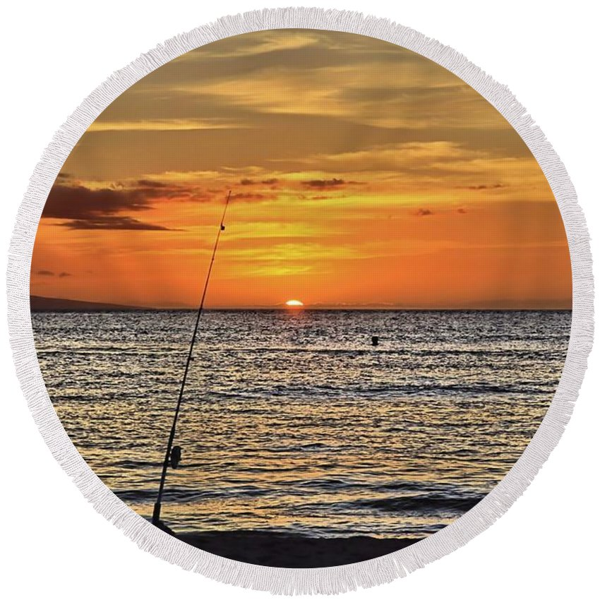 Sunset Round Beach Towel featuring the photograph Catch Of The Day by DJ Florek