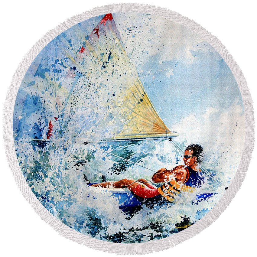 Sailboat Art Round Beach Towel featuring the painting Catch The Wind by Hanne Lore Koehler
