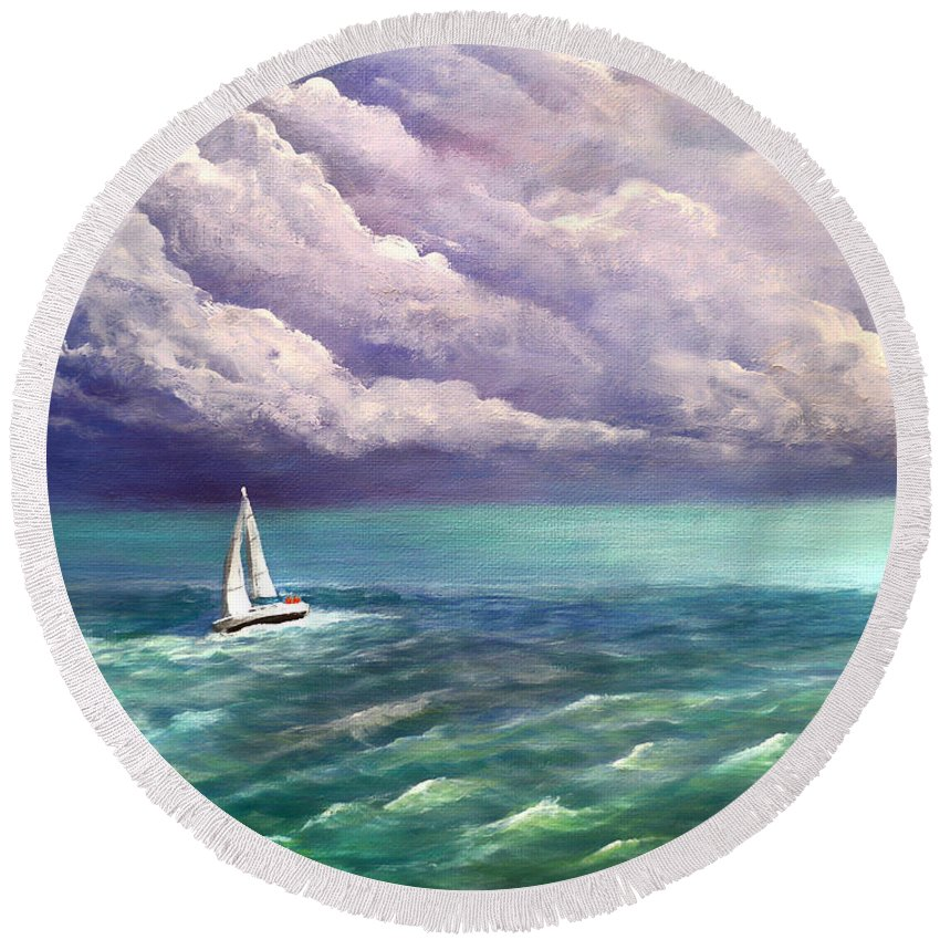 Sailing Round Beach Towel featuring the painting Tell The Storm by Patricia L Davidson
