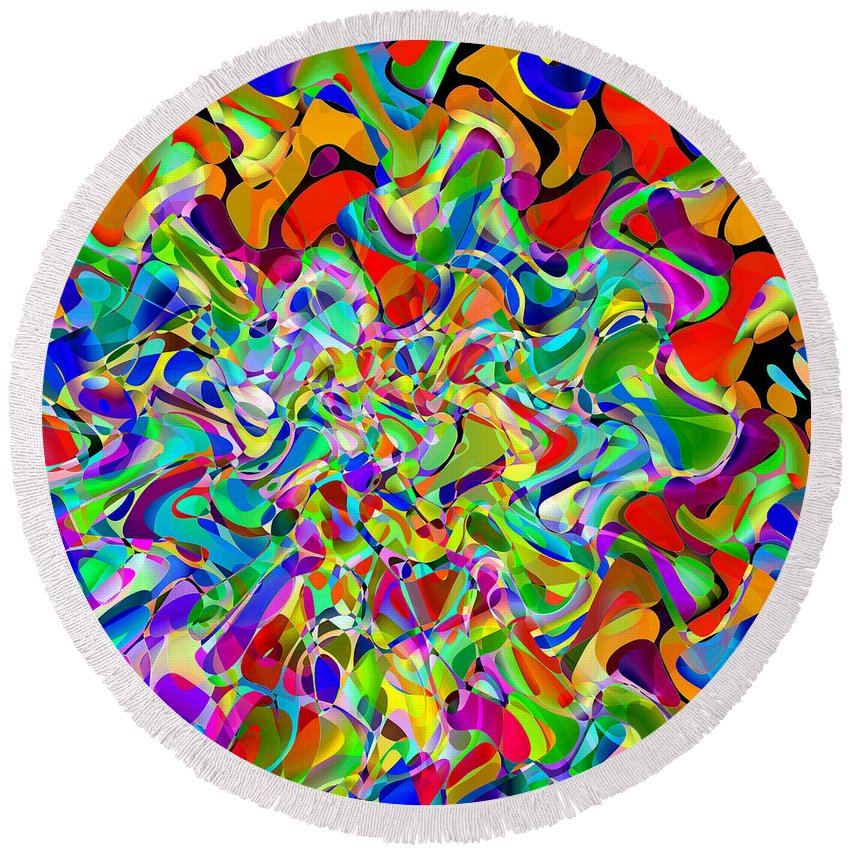 Abstract Round Beach Towel featuring the digital art Catching The Lights by Ruth Palmer