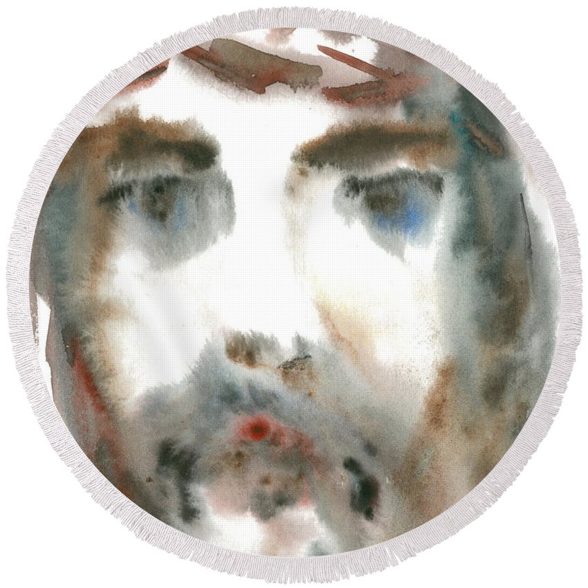 Jesus Round Beach Towel featuring the painting Catharsis by Sveatoslav Zacon