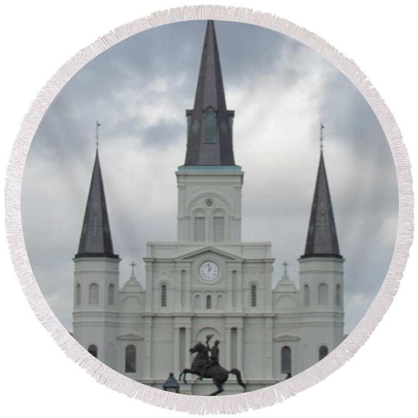 Church Round Beach Towel featuring the photograph Cathedral Church by Michelle Powell