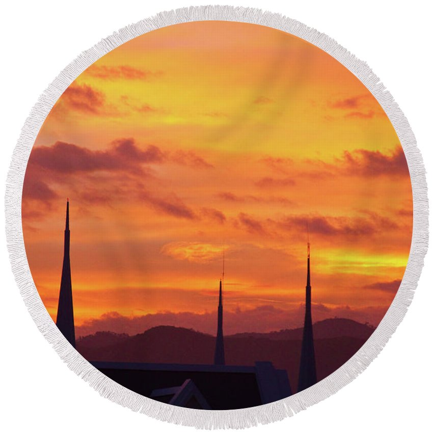 Insogna Round Beach Towel featuring the photograph Cathedral Church Sunset by James BO Insogna
